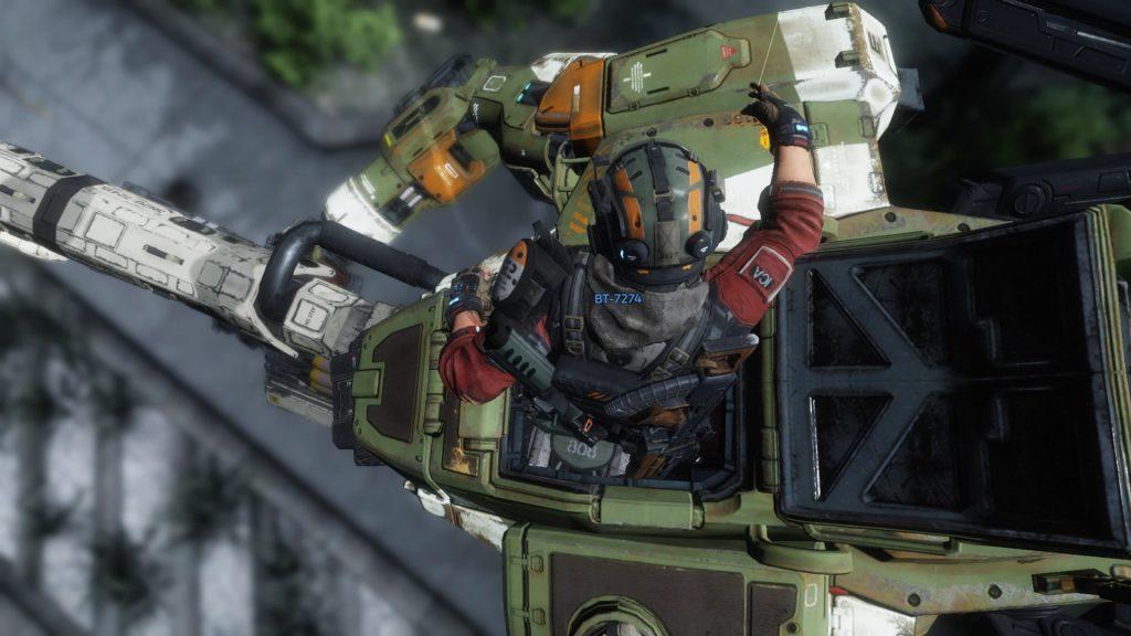 Pilot entering robot to prepare for titanfall