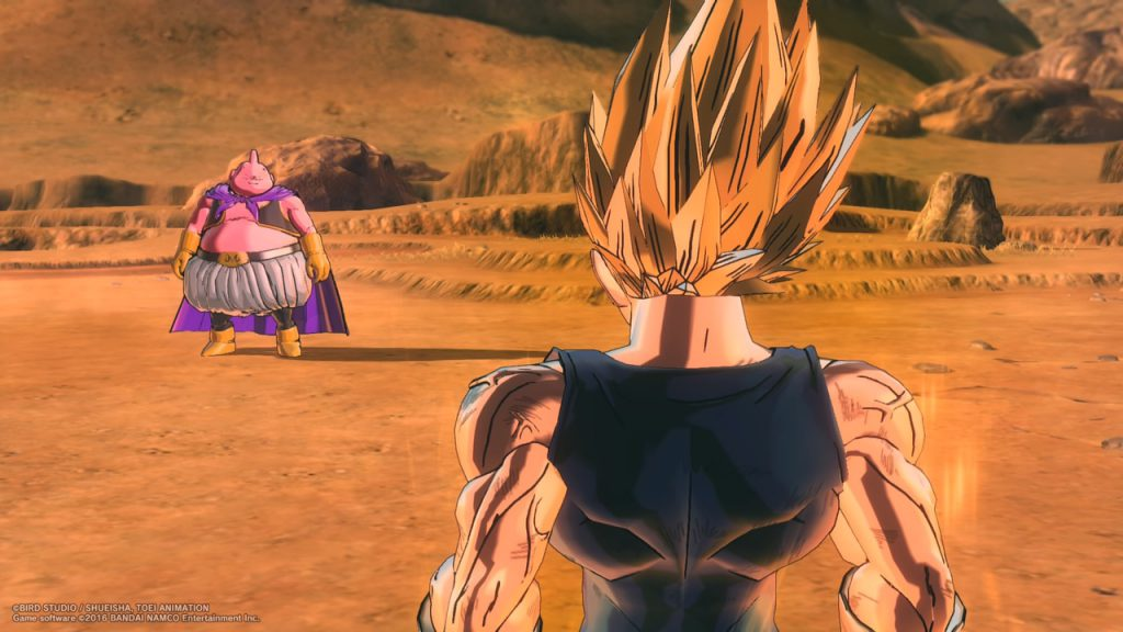 Fight in Dragonball Xenoverse 2 between Majin Buu and Vegeta