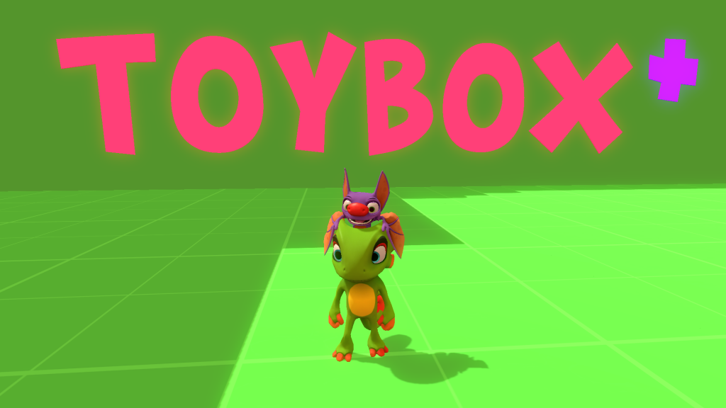 Yooka-Laylee standing in front of toybox logo