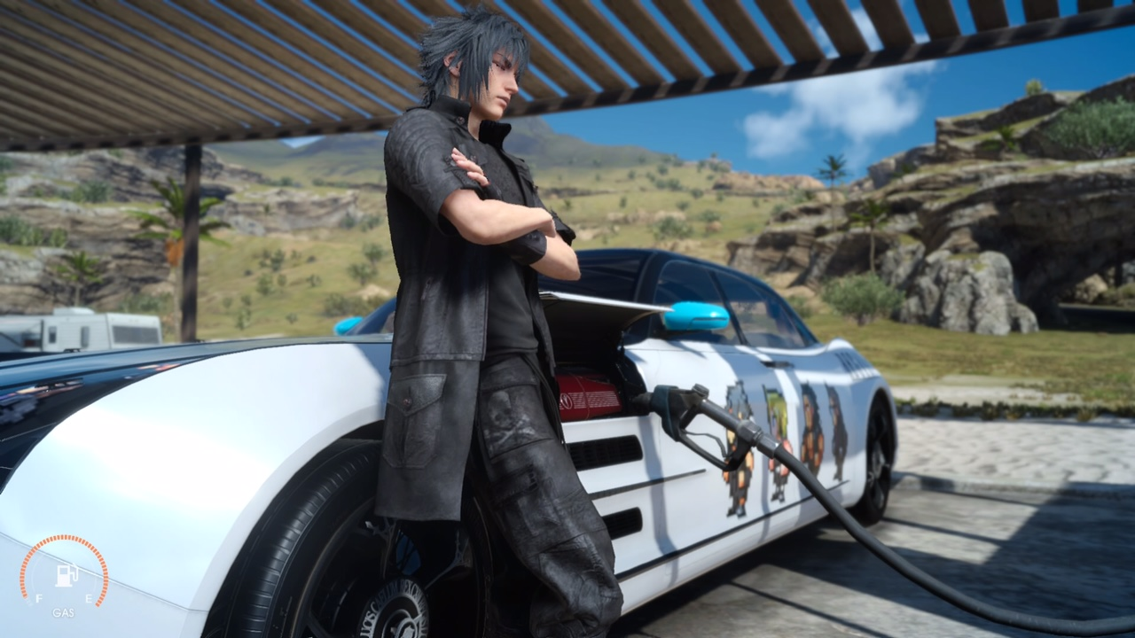 Final Fantasy XV pumping gas